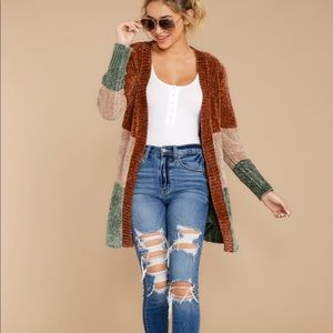FABLE Let's Hang Out Brick Red Chenille Cardigan